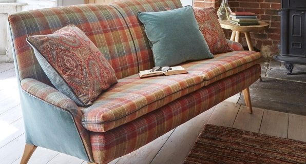 Cossack Copper Beech Sofa with Riffle Aztec