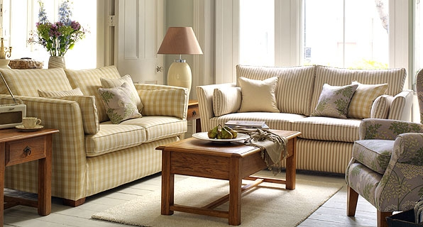 Sofas in Larsson Check & Astrid Stripe