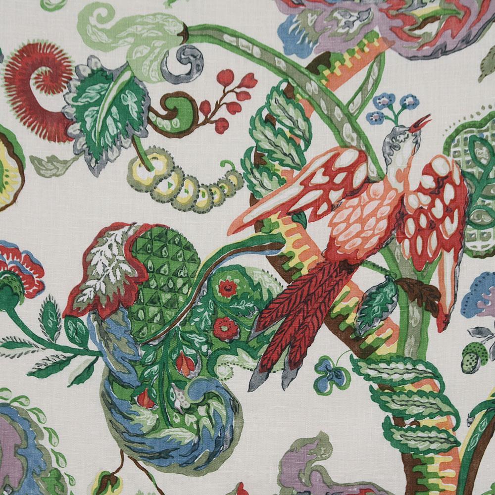 Poppinjay linen garden party ian sanderson upholstery for Garden party fabric by blackbird designs