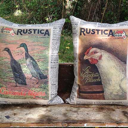 Duck & Chicken Vintage CUSHION FABRIC