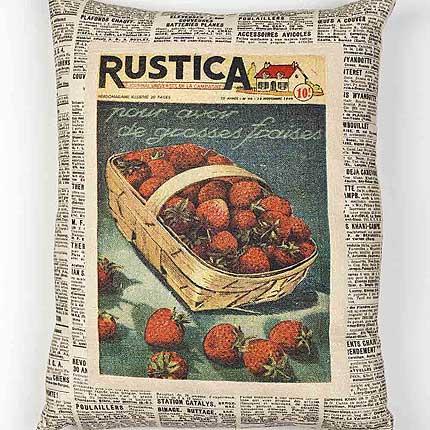 Strawberries Vintage Cushion