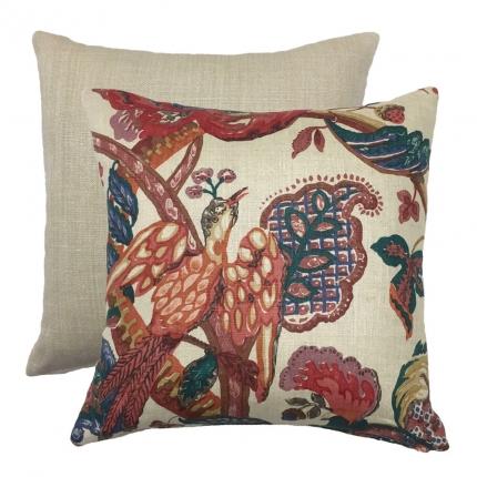Poppinjay Vintage Linen Cushion