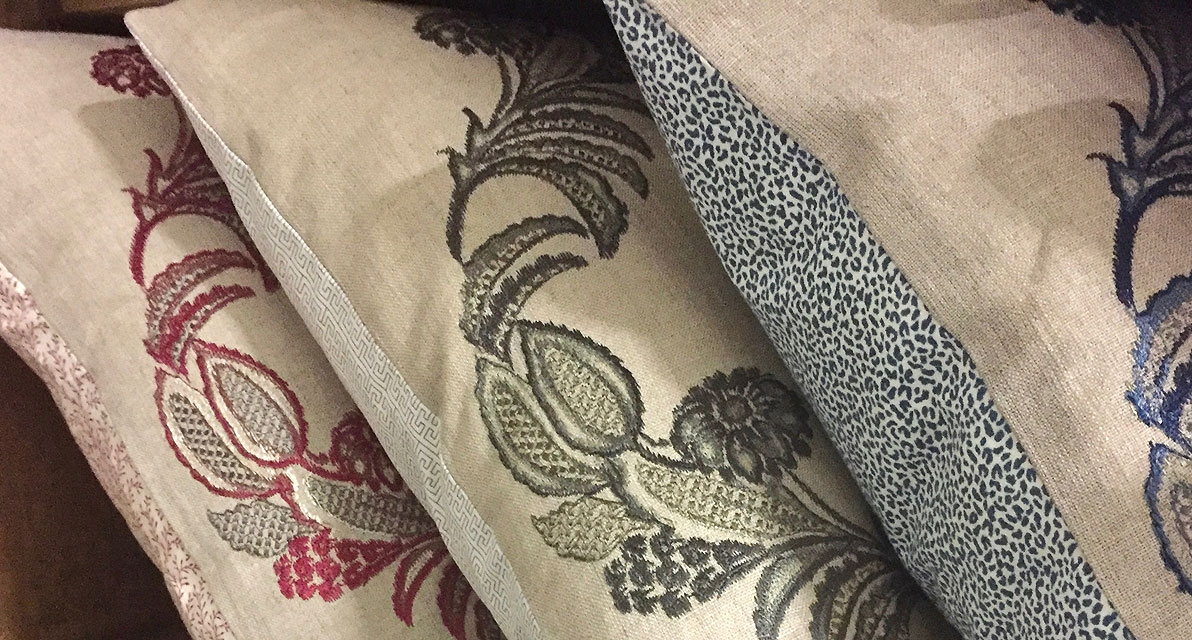 Pasha cushions with Little Complements prints